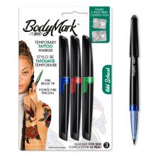 BodyMark by BIC Temporary Tattoo Markers and Stencils, Old School Kit - Assorted Colours, Pack of 3+2