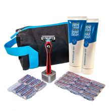 BIC Shave Club 5 Blades Neo - 6 Months Full Shave Set - 1 Red Handle + 20 Refills of 5 Blades Cartridges + 2 Shave Creams 125ml + 1 Razor Stand + 1 Wash Bag