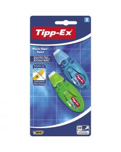 Tipp-Ex Micro Tape Twist Correction Tapes 8 m x 5 mm - Assorted Body Colours, Pack of 2