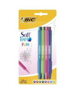 BIC Softfeel Fun Stylos-Bille Rétractables Pointe Moyenne (1