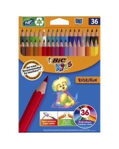 BIC Kids Evolution ECOlutions Crayons de Couleur - Coloris Assortis