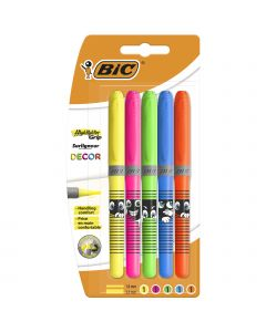 BIC Highlighter Grip Decor Surligneurs Pointe Biseautée - Couleurs Assorties
