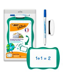 BIC Velleda Double-Sided Dry Erase Board (21 x 31 cm) with Whiteboard Marker and Eraser - Green Frame, Pack of 1