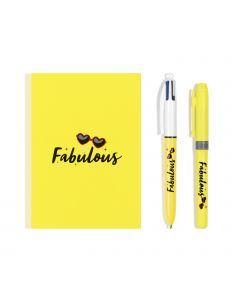 BIC My Message Kit Fabulous - Stationery Set with 1 BIC 4 Colours Ballpoint Pen, 1 BIC Highlighter Grip Pen - Yellow, 1 Blank Notebook A6 Size, Pack of 3