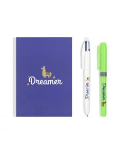BIC My Message Kit Dreamer - Stationery Set with 1 BIC 4 Colours Ballpoint Pen, 1 BIC Highlighter Grip Pen - Green, 1 Blank Notebook A6 Size, Pack of 3