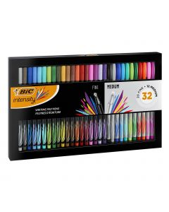 BIC Intensity Writing Felt Tip Pen Set Fine and Medium Points - Assorted Colours, Gift Set