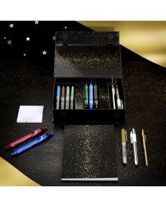 BIC My Surprise Box - Gift Set of 14 Writing Instruments, 4 Ballpoint Pens/5 Metallic Felt-tips/ 5 Gel Pens/1 Sticky Note Block and an A5 Note Pad - White