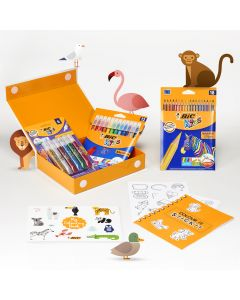 BIC My Colouring Box - Colouring Kit with 12 Markers/ 18 Colouring Pencils/ 6 Glitter Glues/ 1 Colouring Book and 36 Stickers