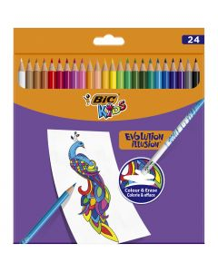 BIC Kids Evolution Illusion Crayons de Couleur Effaçables - Couleurs Assorties