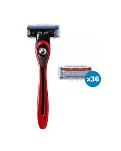 BIC Shave Club 5 Blades Neo - 1 year of shaving - 1 Red Handle + 36 Refills of 5 Blades Cartridges