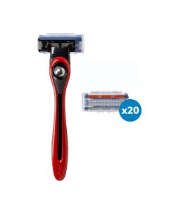 BIC Shave Club 5 Blades Neo - 6 months of shaving - 1 Red Handle + 20 Refills of 5 Blades Cartridges