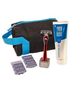 BIC Shave Club 5 Blades Neo - Gifting Shave Set - 1 Red Handle + 8 Refills of 5 Blades Cartridges + 1 Shave Cream 125ml + 1 Razor Stand + 1 Wash Bag + 1 Gift Box